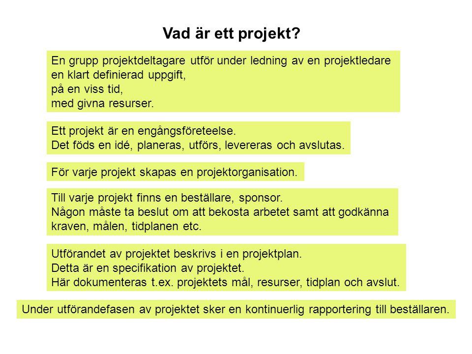 Vad är ett projekt? En grupp projektdeltagare utför under ledning av en projektledare en klart definierad uppgift, på en viss tid, med givna resurser.
