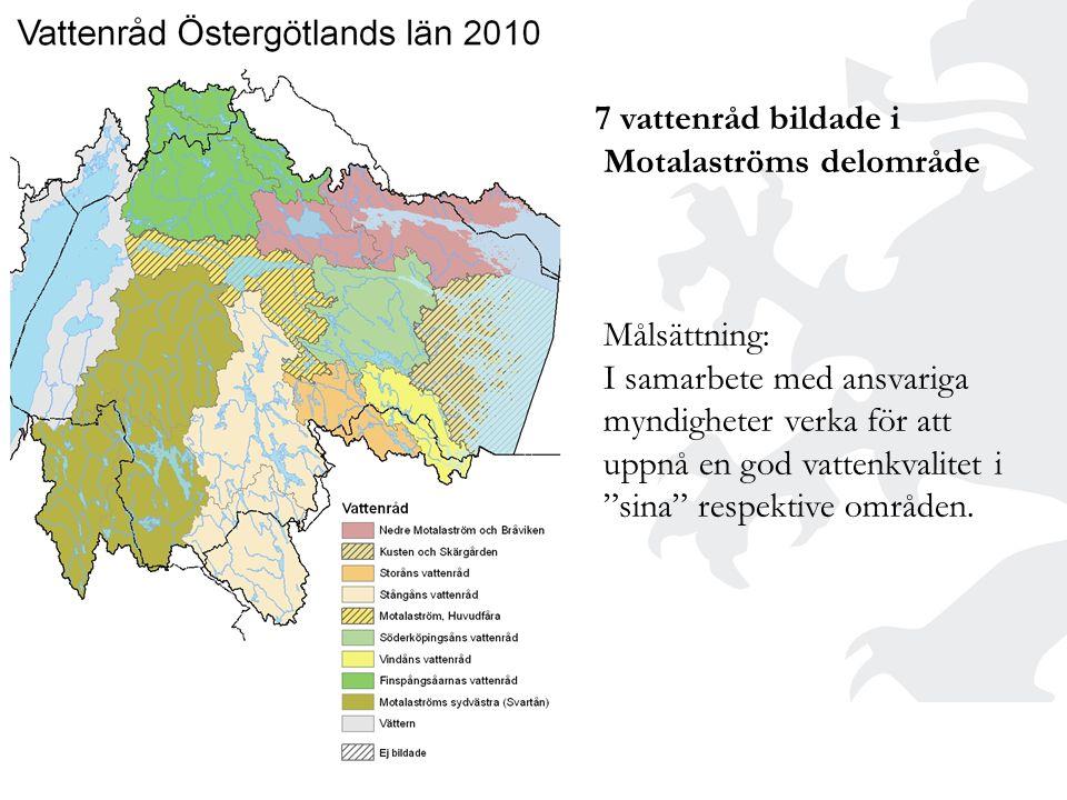 7 vattenråd bildade i Motalaströms delområde Målsättning: I samarbete med ansvariga myndigheter verka för att uppnå en god vattenkvalitet i sina respektive områden.