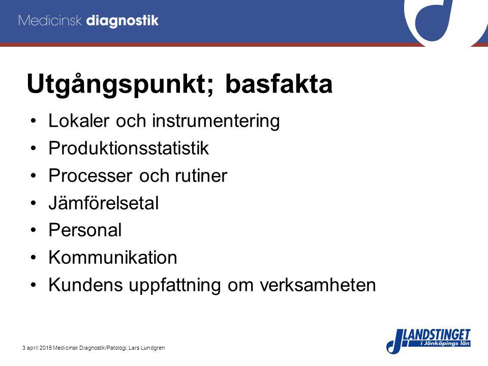 3 april 2015 Medicinsk Diagnostik/Patologi, Lars Lundgren Utgångspunkt; basfakta Lokaler och instrumentering Produktionsstatistik Processer och rutine