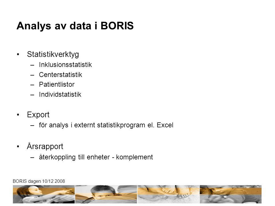 BORIS dagen 10/12 2008 Analys av data i BORIS Statistikverktyg –Inklusionsstatistik –Centerstatistik –Patientlistor –Individstatistik Export –för analys i externt statistikprogram el.