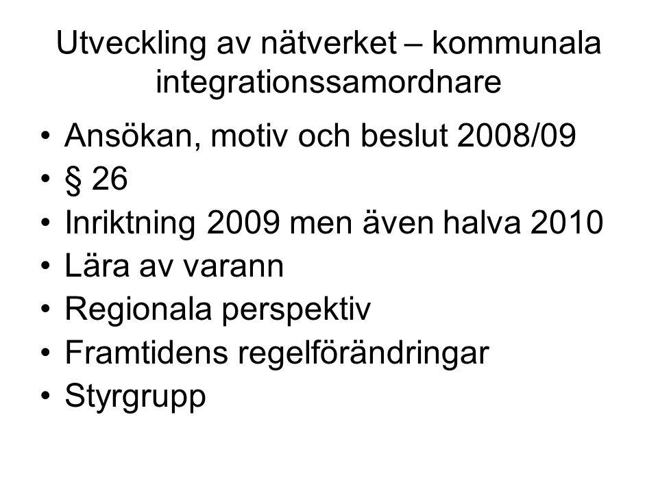 Utveckling av nätverket – kommunala integrationssamordnare Ansökan, motiv och beslut 2008/09 § 26 Inriktning 2009 men även halva 2010 Lära av varann Regionala perspektiv Framtidens regelförändringar Styrgrupp