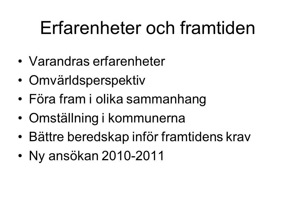 Erfarenheter och framtiden Varandras erfarenheter Omvärldsperspektiv Föra fram i olika sammanhang Omställning i kommunerna Bättre beredskap inför framtidens krav Ny ansökan 2010-2011