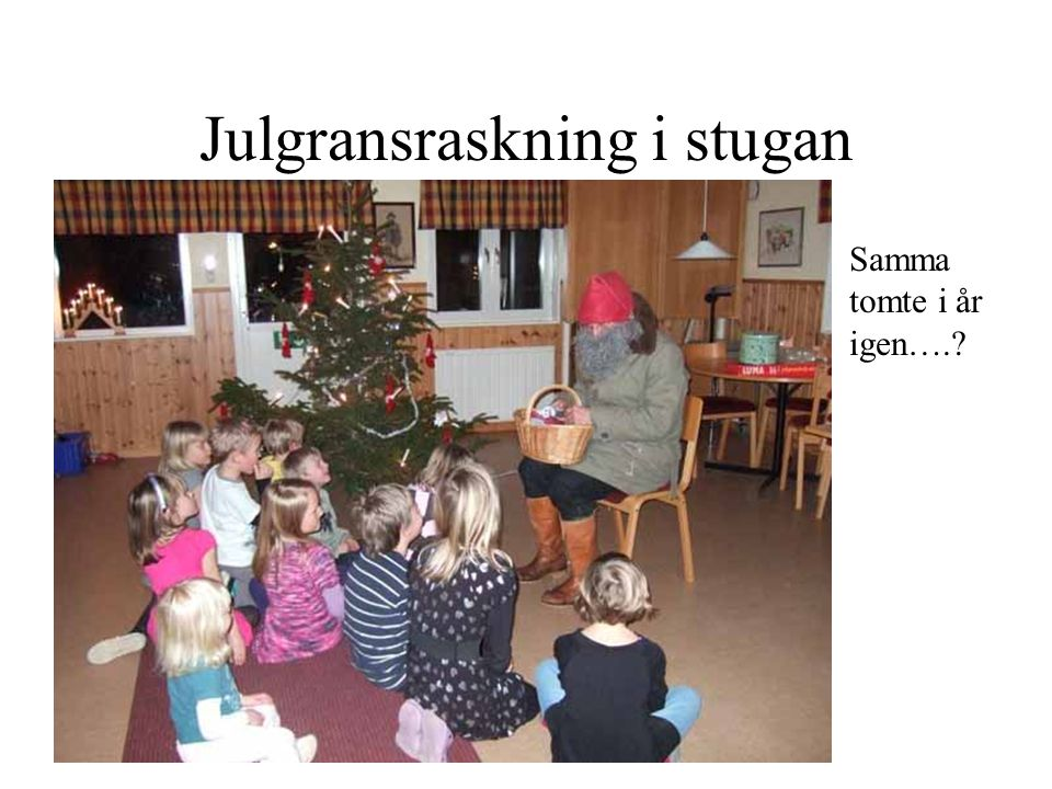 Julgransraskning i stugan Samma tomte i år igen….