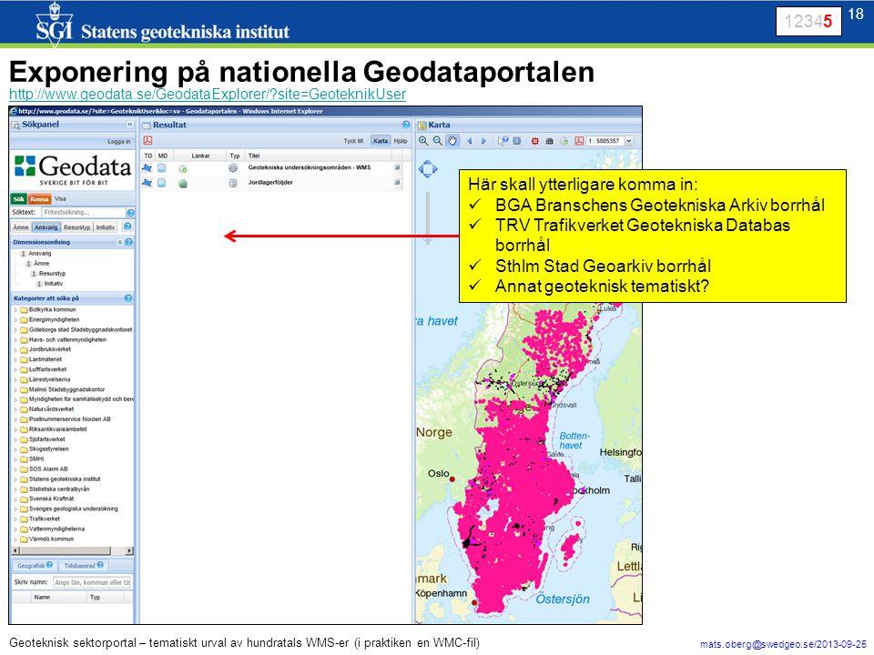 18 mats.oberg@swedgeo.se/2013-09-25 18 Geoteknisk sektorportal – tematiskt urval av hundratals WMS-er (i praktiken en WMC-fil) 12345 Exponering på nationella Geodataportalen http://www.geodata.se/GeodataExplorer/ site=GeoteknikUser Här skall ytterligare komma in: BGA Branschens Geotekniska Arkiv borrhål TRV Trafikverket Geotekniska Databas borrhål Sthlm Stad Geoarkiv borrhål Annat geoteknisk tematiskt