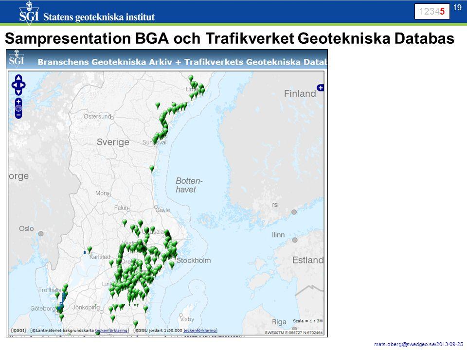 19 mats.oberg@swedgeo.se/2013-09-25 19 12345 Sampresentation BGA och Trafikverket Geotekniska Databas
