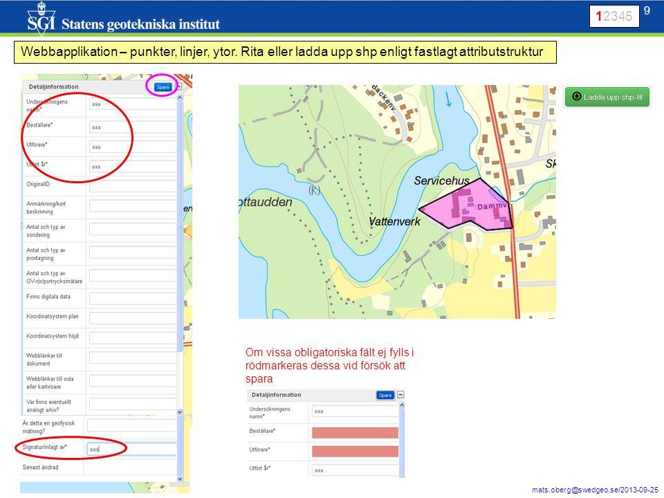 9 mats.oberg@swedgeo.se/2013-09-25 9 Webbapplikation – punkter, linjer, ytor. Rita eller ladda upp shp enligt fastlagt attributstruktur Om vissa oblig