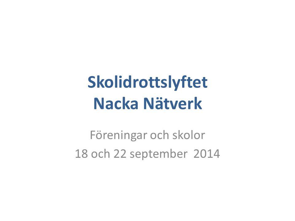 Skolidrottslyftet Nacka Nätverk Föreningar och skolor 18 och 22 september 2014