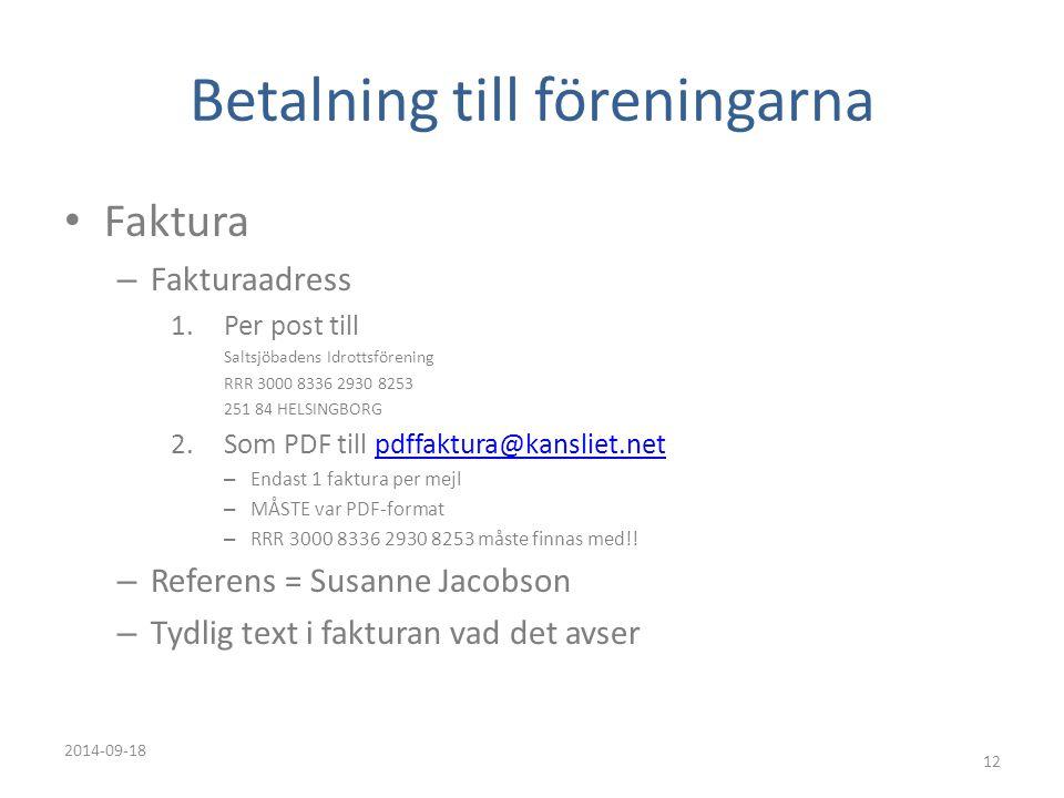 Betalning till föreningarna Faktura – Fakturaadress 1.Per post till Saltsjöbadens Idrottsförening RRR 3000 8336 2930 8253 251 84 HELSINGBORG 2.Som PDF