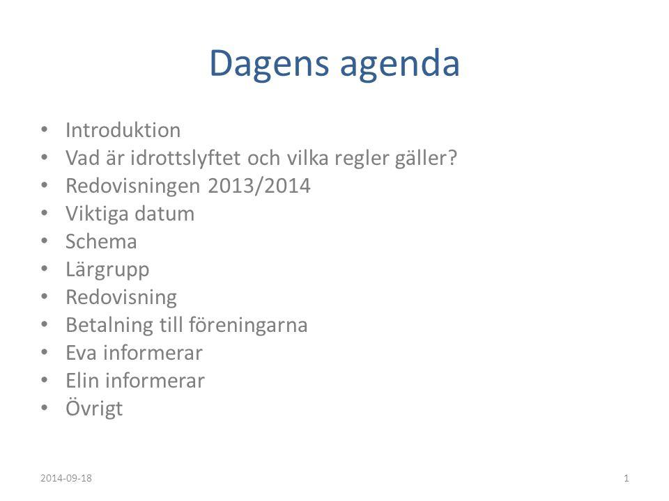 Dagens agenda Introduktion Vad är idrottslyftet och vilka regler gäller? Redovisningen 2013/2014 Viktiga datum Schema Lärgrupp Redovisning Betalning t