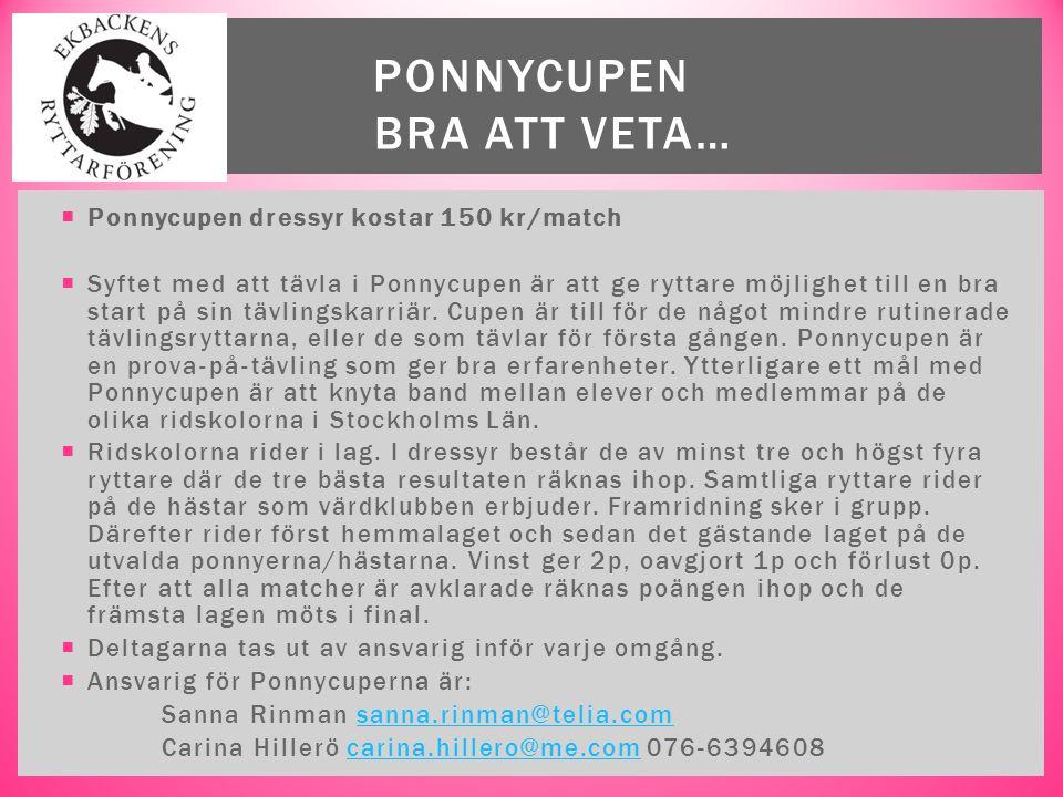  Ponnycupen dressyr kostar 150 kr/match  Syftet med att tävla i Ponnycupen är att ge ryttare möjlighet till en bra start på sin tävlingskarriär. Cup