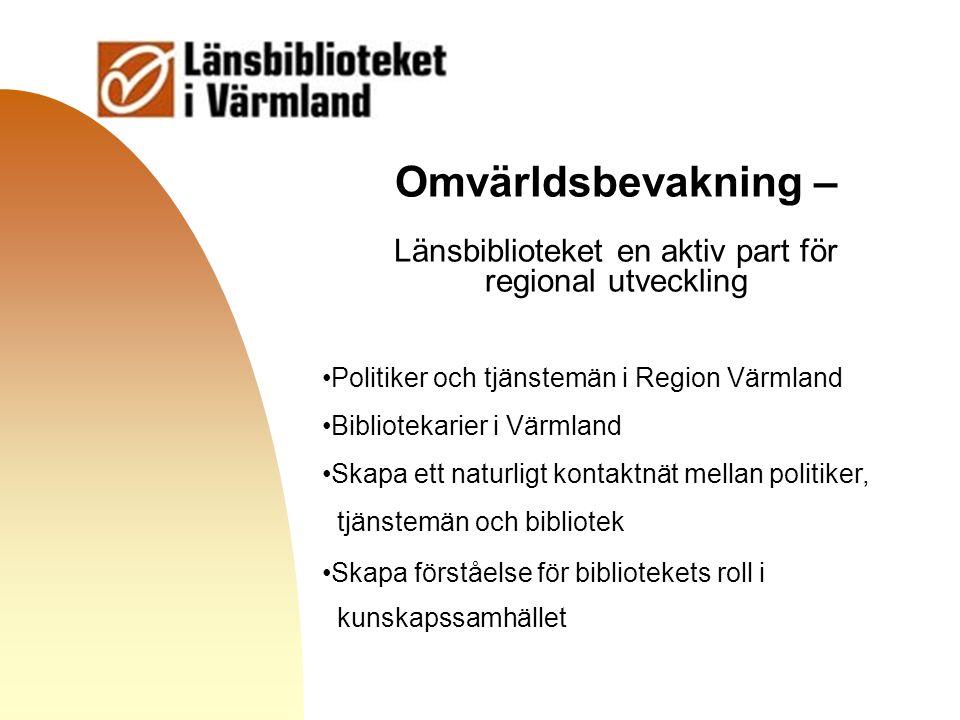 Gå till första sidan Omvärldsbevakning – Länsbiblioteket en aktiv part för regional utveckling Politiker och tjänstemän i Region Värmland Bibliotekari