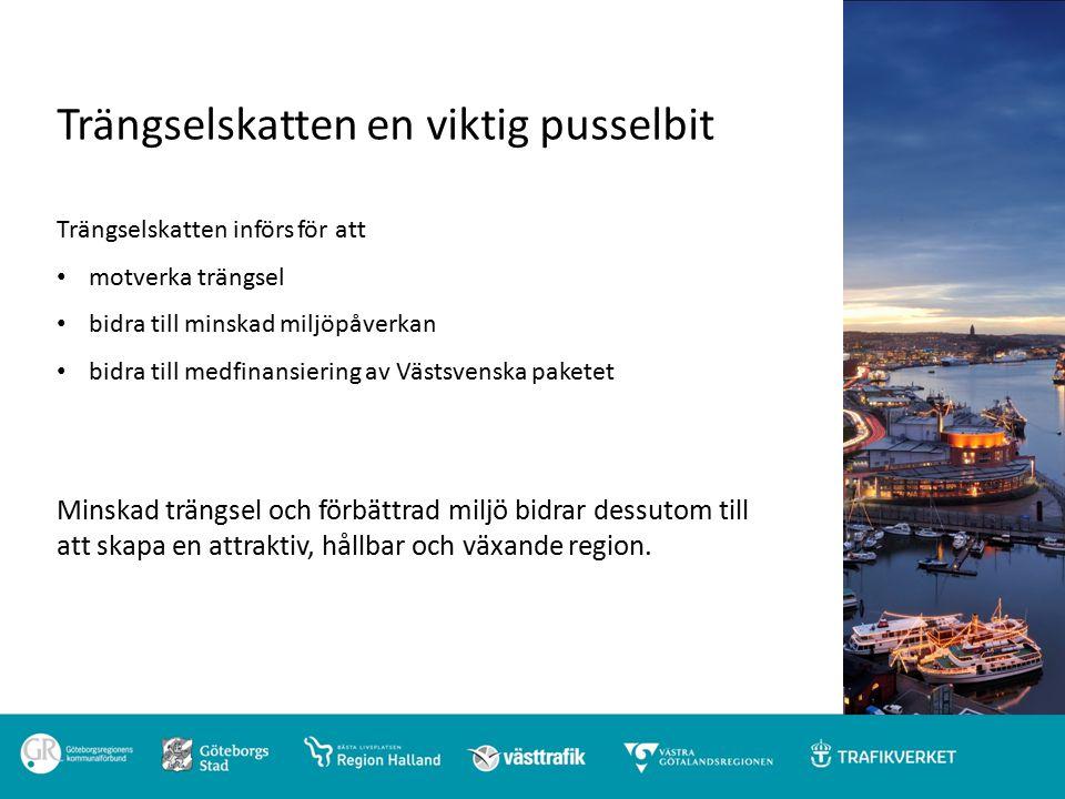 Trängselskatten en viktig pusselbit Trängselskatten införs för att motverka trängsel bidra till minskad miljöpåverkan bidra till medfinansiering av Västsvenska paketet Minskad trängsel och förbättrad miljö bidrar dessutom till att skapa en attraktiv, hållbar och växande region.