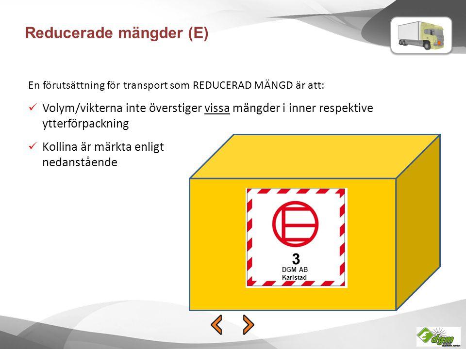 Begränsade mängder (LQ) BEGRÄNSADE MÄNGDER kan endast vara förpackade på två olika sätt: Sammansatt förpackning max 30 kgSträck- eller krypfilmade brickor max 20 kg