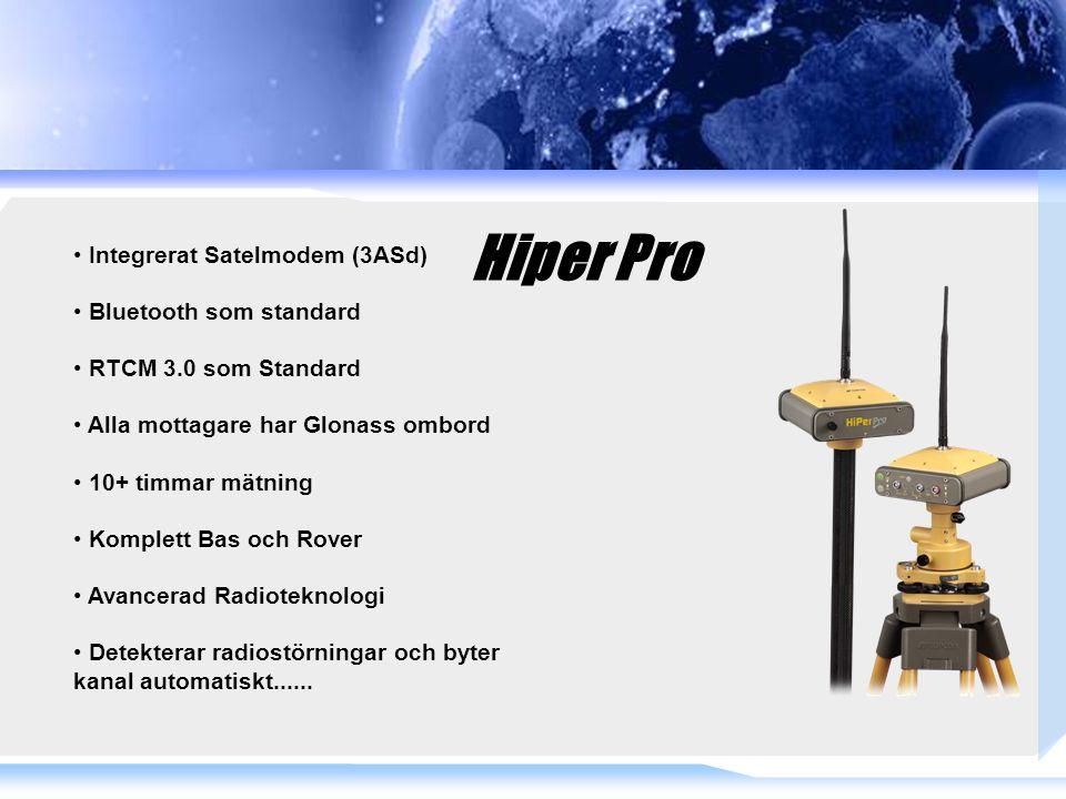 Hiper Pro Integrerat Satelmodem (3ASd) Bluetooth som standard RTCM 3.0 som Standard Alla mottagare har Glonass ombord 10+ timmar mätning Komplett Bas och Rover Avancerad Radioteknologi Detekterar radiostörningar och byter kanal automatiskt......