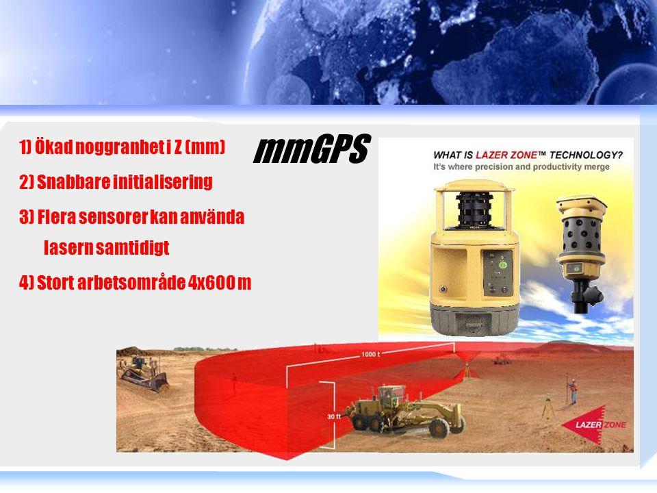 1) Ökad noggranhet i Z (mm) 2) Snabbare initialisering 3) Flera sensorer kan använda lasern samtidigt 4) Stort arbetsområde 4x600 m mmGPS