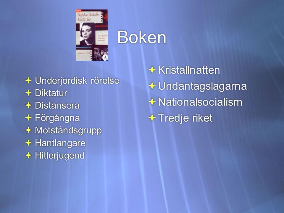 Boken  Underjordisk rörelse  Diktatur  Distansera  Förgångna  Motståndsgrupp  Hantlangare  Hitlerjugend  Underjordisk rörelse  Diktatur  Dis