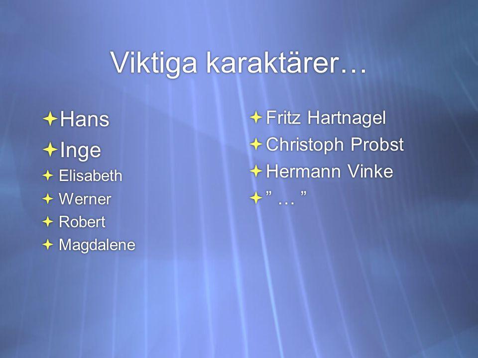 Viktiga karaktärer…  Hans  Inge  Elisabeth  Werner  Robert  Magdalene  Hans  Inge  Elisabeth  Werner  Robert  Magdalene  Fritz Hartnagel  Christoph Probst  Hermann Vinke  …  Fritz Hartnagel  Christoph Probst  Hermann Vinke  …