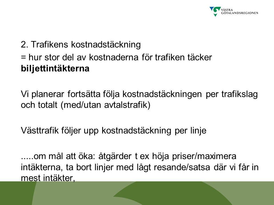 2. Trafikens kostnadstäckning = hur stor del av kostnaderna för trafiken täcker biljettintäkterna Vi planerar fortsätta följa kostnadstäckningen per t