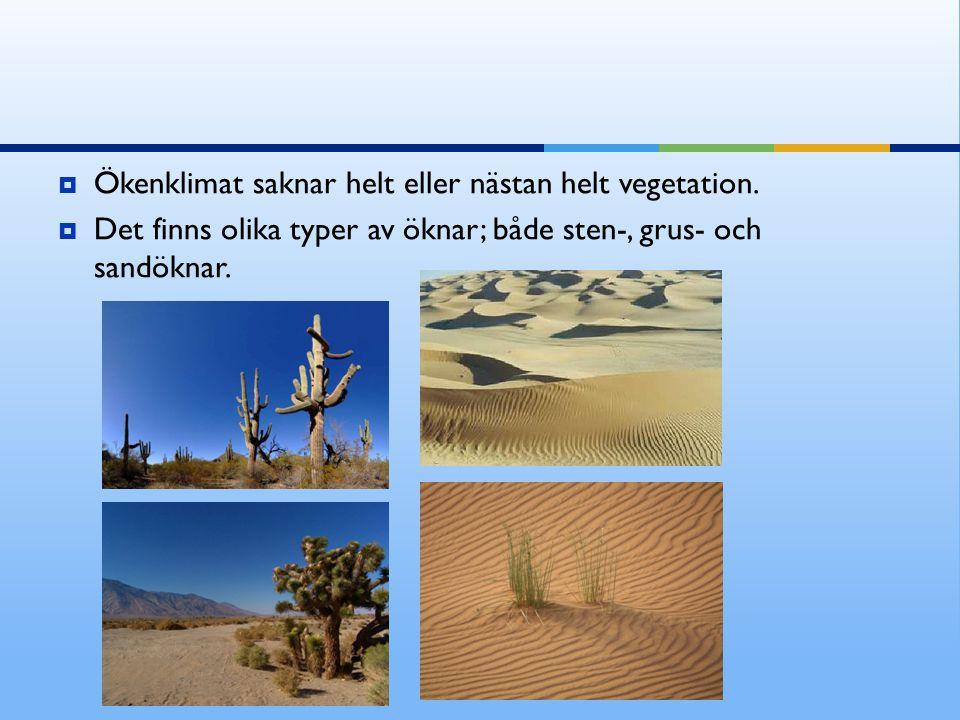  Ökenklimat saknar helt eller nästan helt vegetation.  Det finns olika typer av öknar; både sten-, grus- och sandöknar.