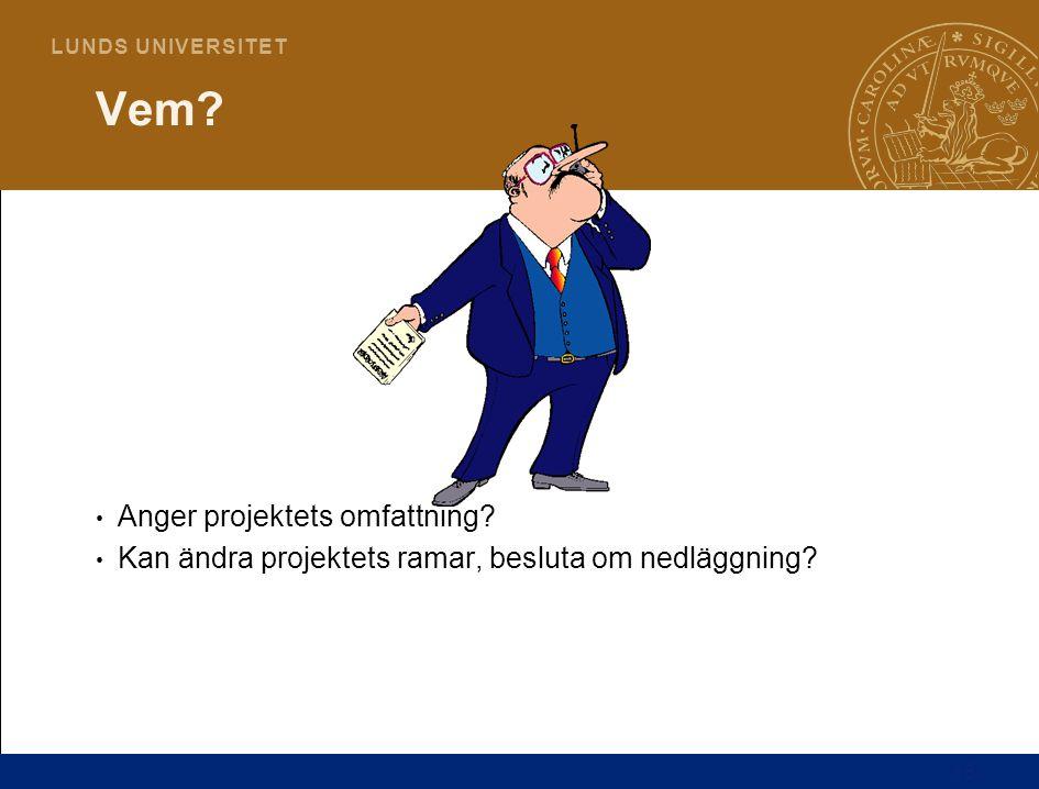 15 L U N D S U N I V E R S I T E T Anger projektets omfattning? Kan ändra projektets ramar, besluta om nedläggning? Vem?