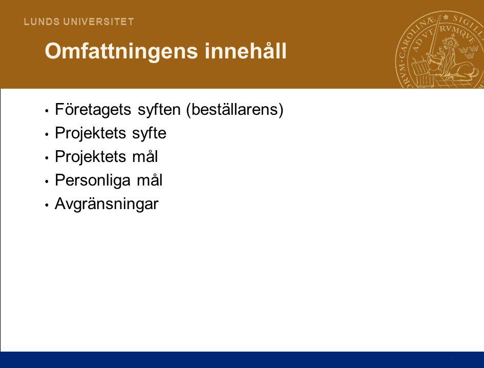 17 L U N D S U N I V E R S I T E T Företagets syften (beställarens) Projektets syfte Projektets mål Personliga mål Avgränsningar Omfattningens innehåll