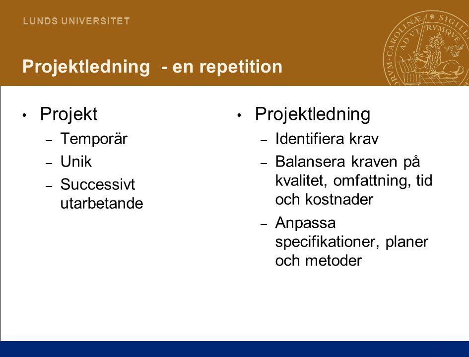 2 L U N D S U N I V E R S I T E T Projektledning - en repetition Projekt – Temporär – Unik – Successivt utarbetande Projektledning – Identifiera krav – Balansera kraven på kvalitet, omfattning, tid och kostnader – Anpassa specifikationer, planer och metoder