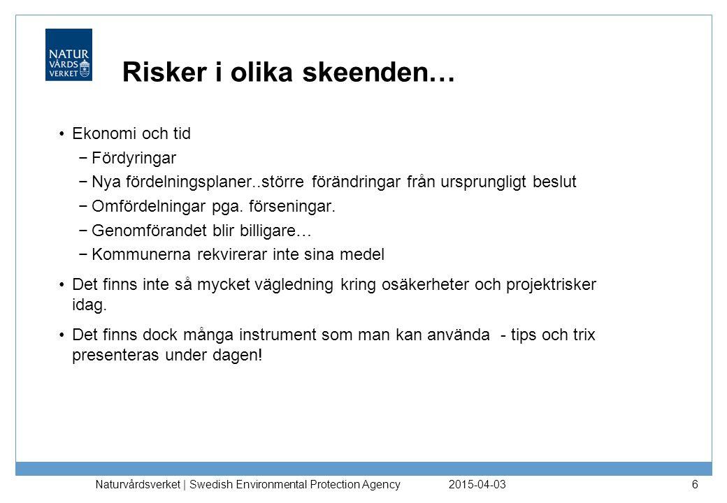 2015-04-03 Naturvårdsverket | Swedish Environmental Protection Agency 6 Risker i olika skeenden… Ekonomi och tid −Fördyringar −Nya fördelningsplaner..
