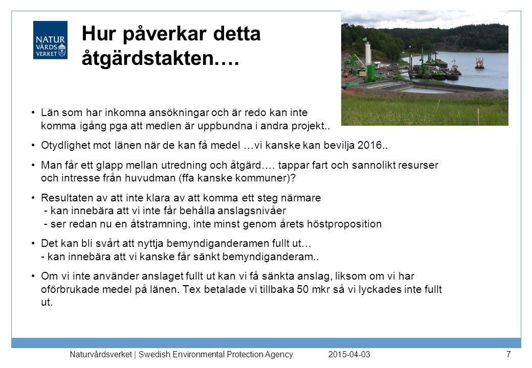 2015-04-03 Naturvårdsverket | Swedish Environmental Protection Agency 7 Hur påverkar detta åtgärdstakten…. Län som har inkomna ansökningar och är redo