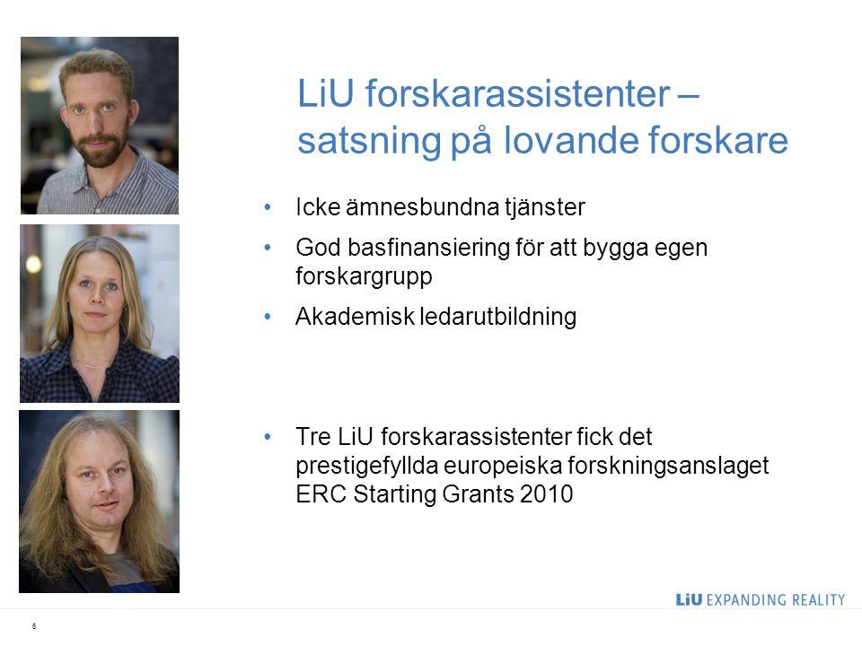 LiU forskarassistenter – satsning på lovande forskare Icke ämnesbundna tjänster God basfinansiering för att bygga egen forskargrupp Akademisk ledarutb