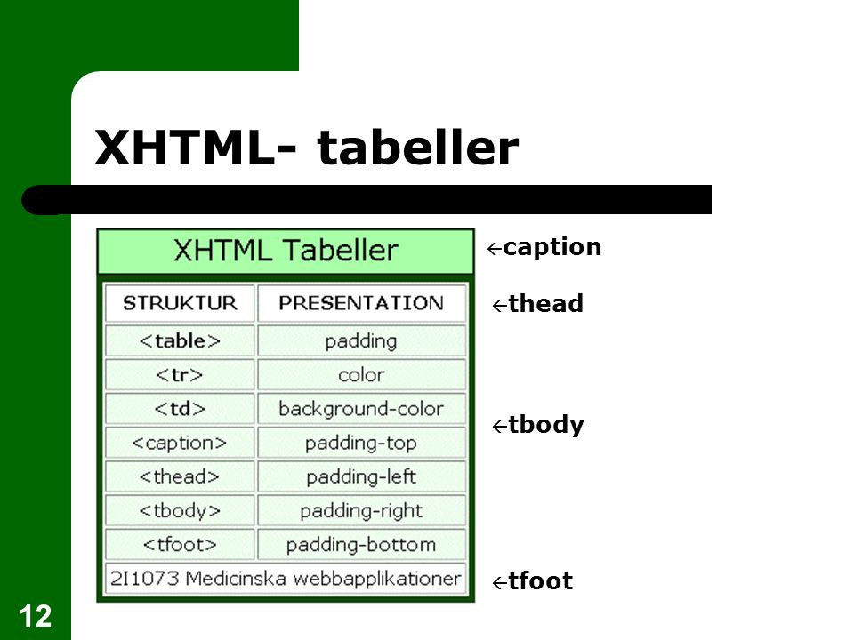 12 XHTML- tabeller  thead  tbody  caption  tfoot