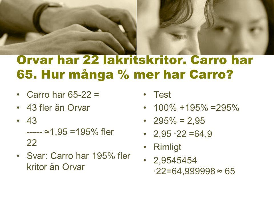 Orvar har 22 lakritskritor. Carro har 65. Hur många % mer har Carro.