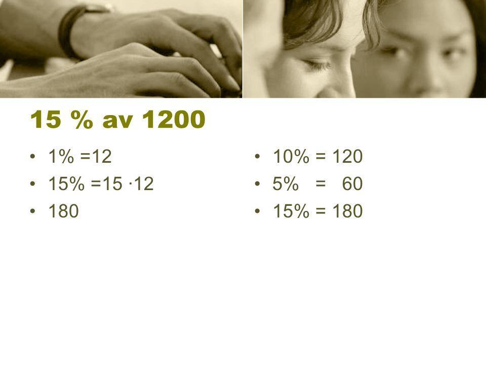 95 % av 1200 1% = 12 95% = 95 ∙12 = 950+95+95 = 950+190 =1140 10% av 1200 = 120 5% = 60 1200 - 60 =1140