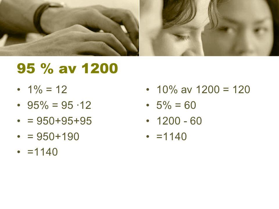 51% av 1200 51% av 1200 =51 ∙12 =510+102 =612 50% av 1200 =600 1% av 1200 = 12 600+12= 612
