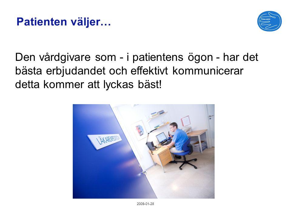 2009-01-28 Patienten väljer… Den vårdgivare som - i patientens ögon - har det bästa erbjudandet och effektivt kommunicerar detta kommer att lyckas bäst!