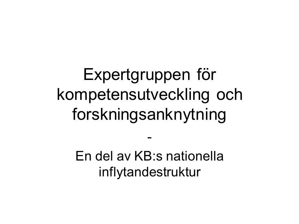 Expertgruppen för kompetensutveckling och forskningsanknytning - En del av KB:s nationella inflytandestruktur