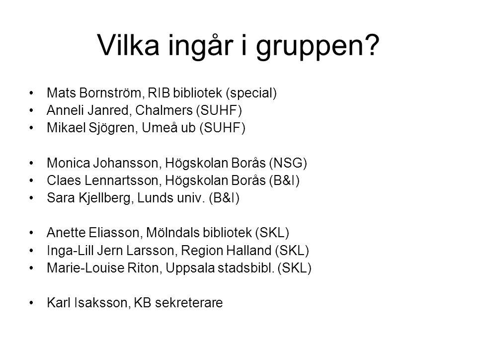 Vilka ingår i gruppen? Mats Bornström, RIB bibliotek (special) Anneli Janred, Chalmers (SUHF) Mikael Sjögren, Umeå ub (SUHF) Monica Johansson, Högskol