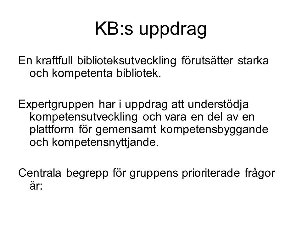 KB:s uppdrag En kraftfull biblioteksutveckling förutsätter starka och kompetenta bibliotek.