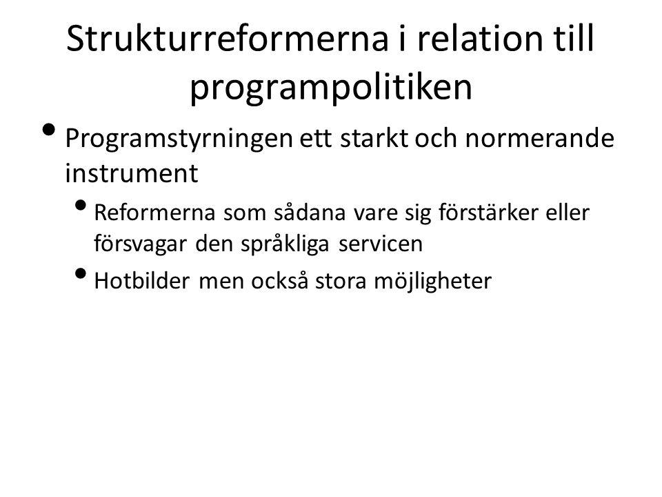 Strukturreformerna i relation till programpolitiken Programstyrningen ett starkt och normerande instrument Reformerna som sådana vare sig förstärker eller försvagar den språkliga servicen Hotbilder men också stora möjligheter