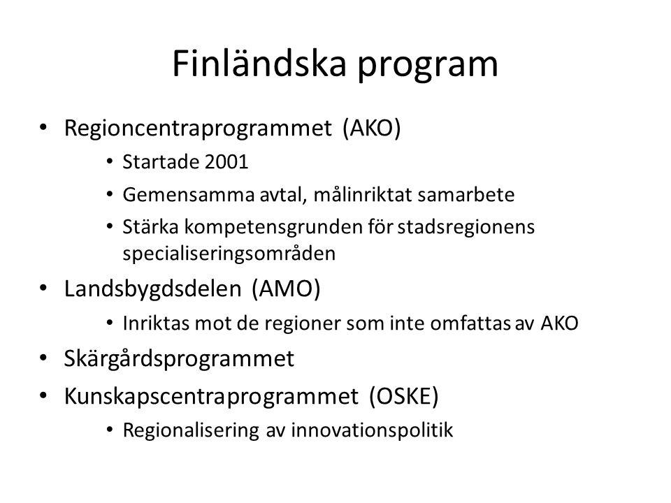 Finländska program Regioncentraprogrammet (AKO) Startade 2001 Gemensamma avtal, målinriktat samarbete Stärka kompetensgrunden för stadsregionens specialiseringsområden Landsbygdsdelen (AMO) Inriktas mot de regioner som inte omfattas av AKO Skärgårdsprogrammet Kunskapscentraprogrammet (OSKE) Regionalisering av innovationspolitik