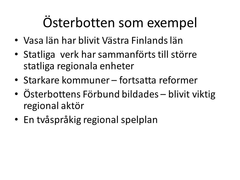 Österbotten som exempel Vasa län har blivit Västra Finlands län Statliga verk har sammanförts till större statliga regionala enheter Starkare kommuner – fortsatta reformer Österbottens Förbund bildades – blivit viktig regional aktör En tvåspråkig regional spelplan