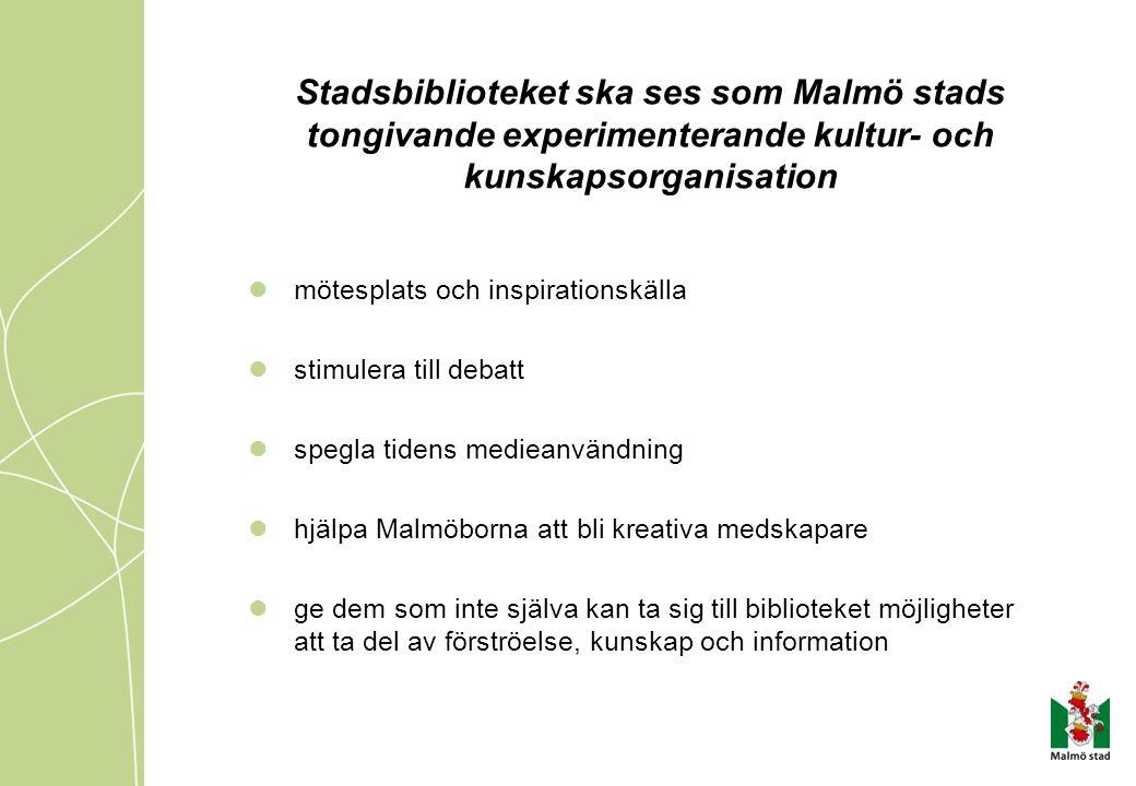 Stadsbiblioteket ska ses som Malmö stads tongivande experimenterande kultur- och kunskapsorganisation mötesplats och inspirationskälla stimulera till debatt spegla tidens medieanvändning hjälpa Malmöborna att bli kreativa medskapare ge dem som inte själva kan ta sig till biblioteket möjligheter att ta del av förströelse, kunskap och information
