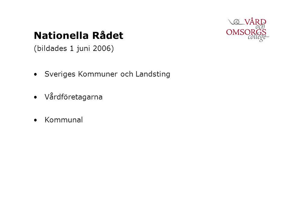 Nationella Rådet (bildades 1 juni 2006) Sveriges Kommuner och Landsting Vårdföretagarna Kommunal