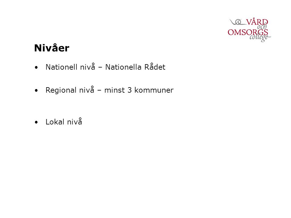 Nivåer Nationell nivå – Nationella Rådet Regional nivå – minst 3 kommuner Lokal nivå