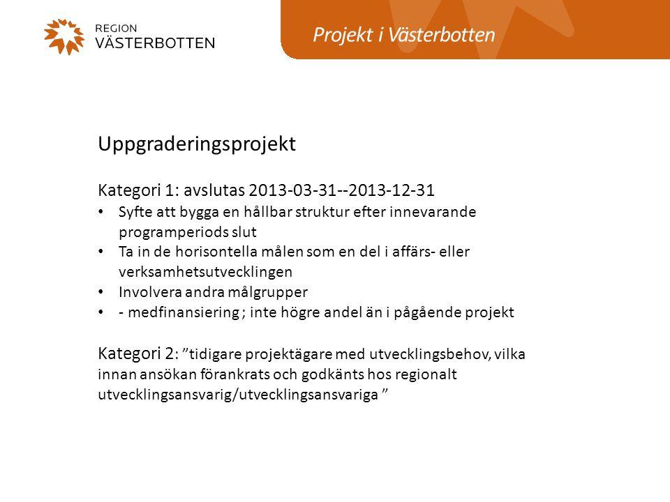 Projekt i Västerbotten Uppgraderingsprojekt Kategori 1: avslutas 2013-03-31--2013-12-31 Syfte att bygga en hållbar struktur efter innevarande programp