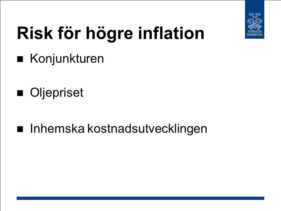 Risk för högre inflation Konjunkturen Oljepriset Inhemska kostnadsutvecklingen