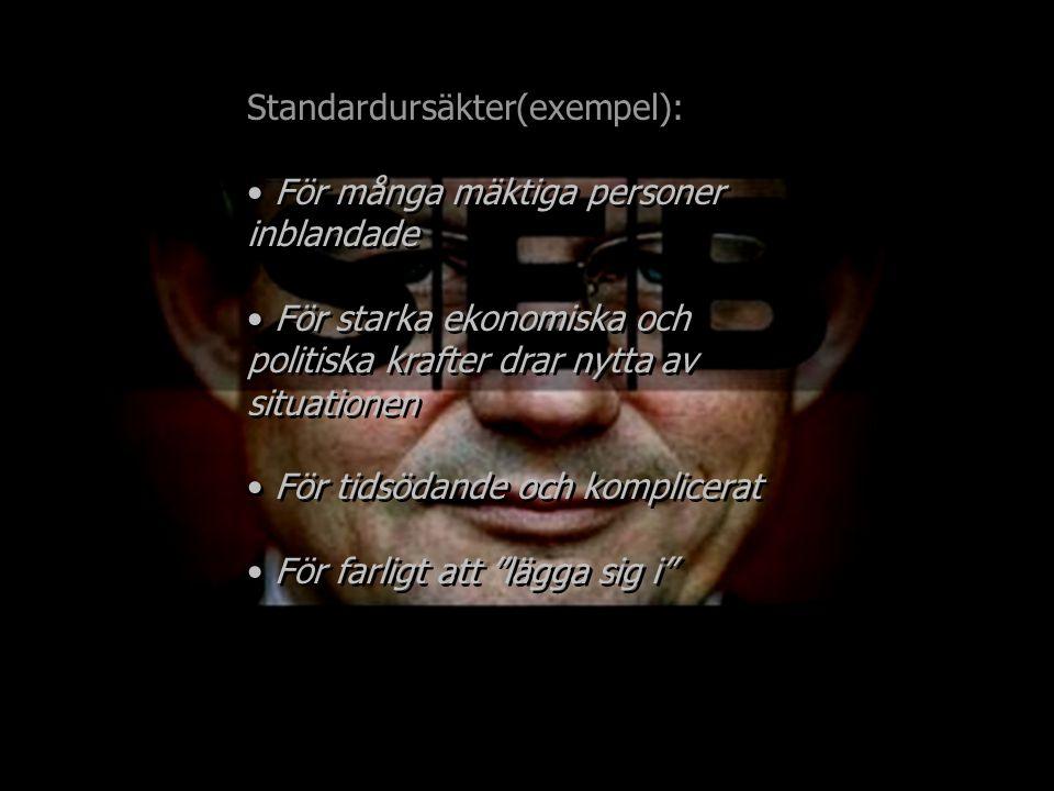 Standardursäkter(exempel): För många mäktiga personer inblandade För starka ekonomiska och politiska krafter drar nytta av situationen För tidsödande och komplicerat Standardursäkter(exempel): För många mäktiga personer inblandade För starka ekonomiska och politiska krafter drar nytta av situationen För tidsödande och komplicerat
