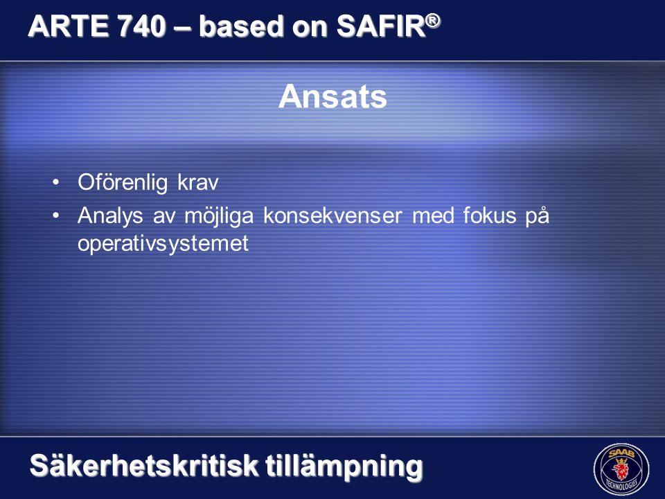 Ansats Oförenlig krav Analys av möjliga konsekvenser med fokus på operativsystemet ARTE 740 – based on SAFIR ® Säkerhetskritisk tillämpning
