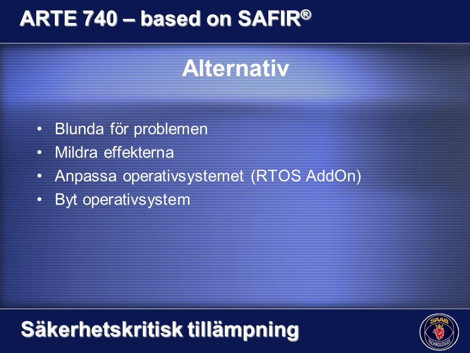 Alternativ Blunda för problemen Mildra effekterna Anpassa operativsystemet (RTOS AddOn) Byt operativsystem ARTE 740 – based on SAFIR ® Säkerhetskritis