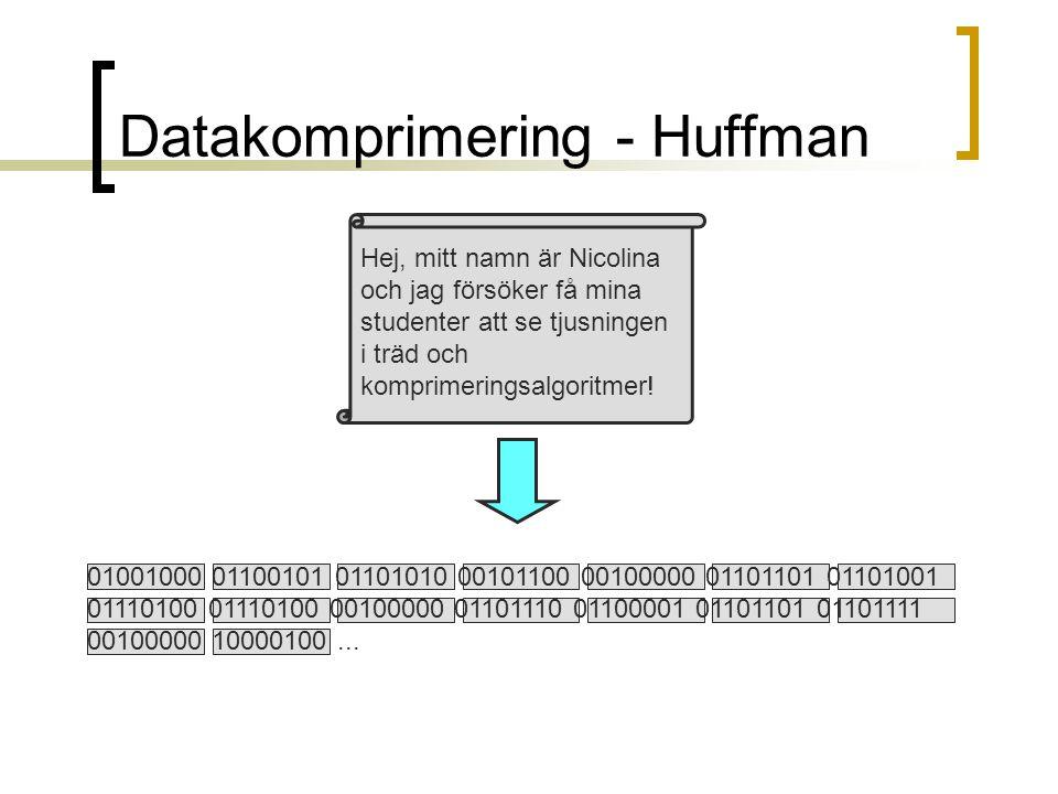 Datakomprimering - Huffman Hej, mitt namn är Nicolina och jag försöker få mina studenter att se tjusningen i träd och komprimeringsalgoritmer! 0100100