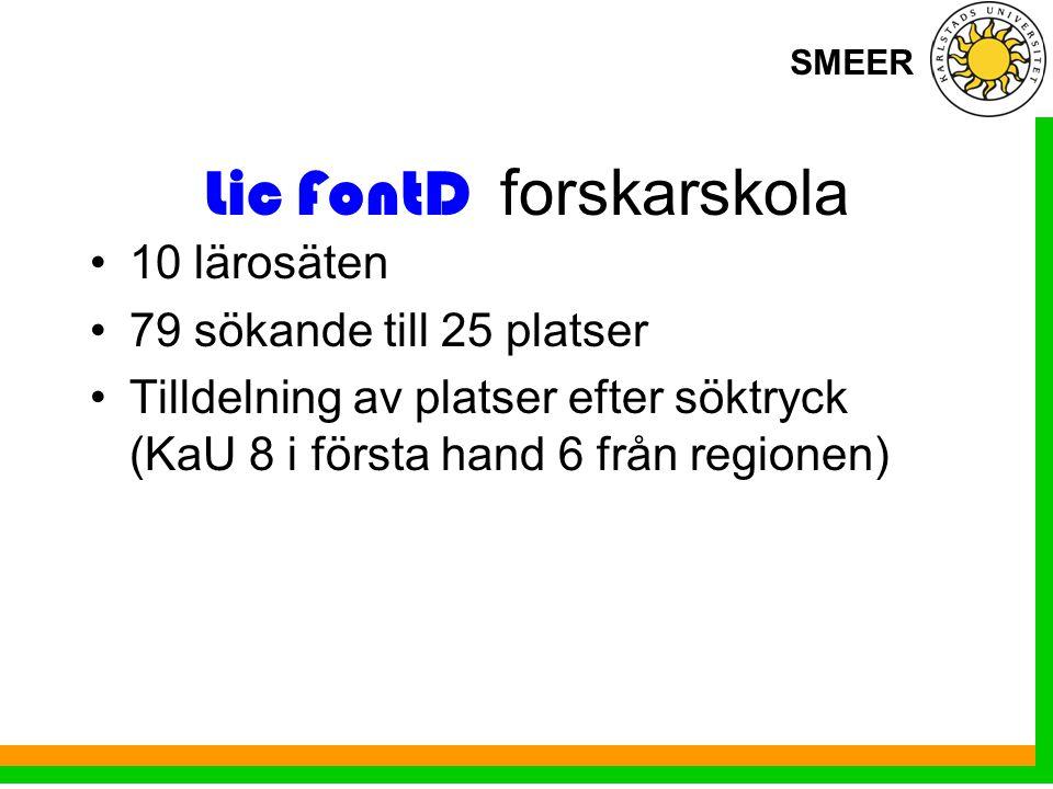 SMEER Lic FontD forskarskola 10 lärosäten 79 sökande till 25 platser Tilldelning av platser efter söktryck (KaU 8 i första hand 6 från regionen)